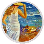 Precious Memories  Round Beach Towel