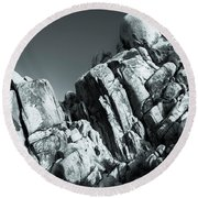 Precious Moment - Juxtaposed Rocks Joshua Tree National Park Round Beach Towel