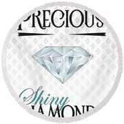 Precious Shiny Diamonds Round Beach Towel