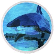 Round Beach Towel featuring the painting Predator by Donald J Ryker III