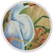 Preening Egret Round Beach Towel by Peter Piatt