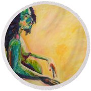 Pregnant Woman In Yellow Round Beach Towel by Esther Newman-Cohen