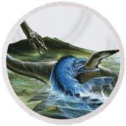 Prehistoric Creatures Round Beach Towel