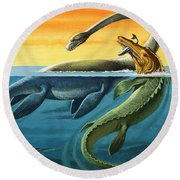 Prehistoric Creatures In The Ocean Round Beach Towel by English School