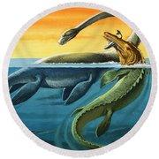 Prehistoric Creatures In The Ocean Round Beach Towel