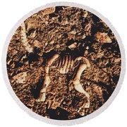Prehistoric Diplodocus Bones Round Beach Towel