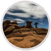Prehistoric Formations Round Beach Towel