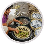 Preparing Pindang Tongkol Round Beach Towel by Werner Padarin