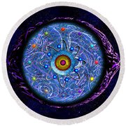 Round Beach Towel featuring the digital art Presbyopic by Iowan Stone-Flowers