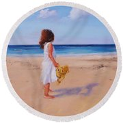 Round Beach Towel featuring the painting Precious Moment by Laura Lee Zanghetti