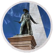 Prescott Statue On Bunker Hill Round Beach Towel