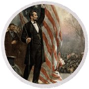 Round Beach Towel featuring the photograph President Abraham Lincoln - American Flag by International  Images