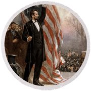 President Abraham Lincoln Giving A Speech Round Beach Towel