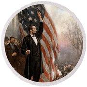 President Abraham Lincoln Giving A Speech Round Beach Towel