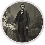 Round Beach Towel featuring the photograph President Abraham Lincoln by International  Images