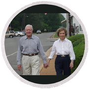 Round Beach Towel featuring the photograph President And Mrs. Jimmy Carter by Jerry Battle