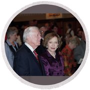 Round Beach Towel featuring the photograph President And Mrs. Jimmy Carter Nobel Celebration by Jerry Battle