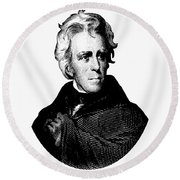 President Andrew Jackson Graphic Black And White Round Beach Towel