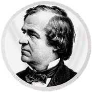 President Andrew Johnson Graphic - Black And White Round Beach Towel