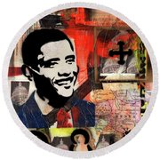 President Barack Obama Round Beach Towel by Everett Spruill