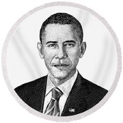 President Barack Obama Graphic Black And White Round Beach Towel by War Is Hell Store