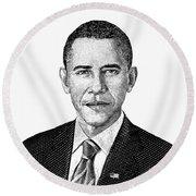 President Barack Obama Graphic Black And White Round Beach Towel