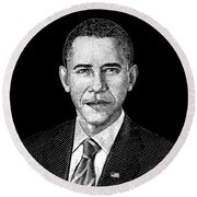 President Barack Obama Graphic Round Beach Towel by War Is Hell Store