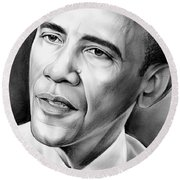 President Barack Obama Round Beach Towel by Greg Joens
