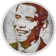 President Barack Obama Portrait United States License Plates Round Beach Towel by Design Turnpike
