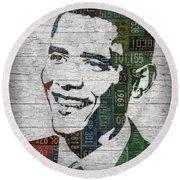 President Barack Obama Portrait United States License Plates Edition Two Round Beach Towel