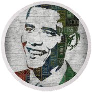 President Barack Obama Portrait United States License Plates Edition Two Round Beach Towel by Design Turnpike