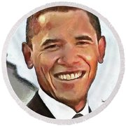 Round Beach Towel featuring the painting President Barack Obama by Wayne Pascall
