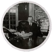 President Calvin Coolidge Round Beach Towel