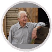 President Carter At His Boyhood Farm Round Beach Towel