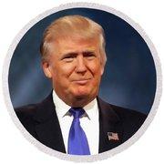 President Donald John Trump Portrait Round Beach Towel