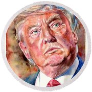 President Donald Trump Painting Round Beach Towel