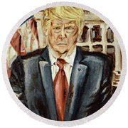 President Donald Trump Round Beach Towel