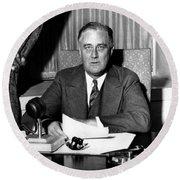 President Franklin Roosevelt Round Beach Towel