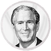 President George W. Bush Graphic - Black And White Round Beach Towel by War Is Hell Store