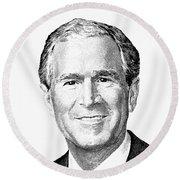 President George W. Bush Graphic - Black And White Round Beach Towel