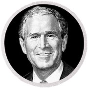 President George W. Bush Graphic Round Beach Towel by War Is Hell Store