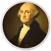 President George Washington Portrait And Signature Round Beach Towel