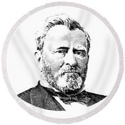President Grant Red White And Blue Round Beach Towel
