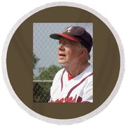 Round Beach Towel featuring the photograph President Jimmy Carter - Atlanta Braves Jersey And Cap by Jerry Battle