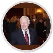 Round Beach Towel featuring the photograph President Jimmy Carter - Nobel Peace Prize Celebration by Jerry Battle
