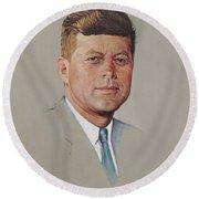 portrait of a President Round Beach Towel