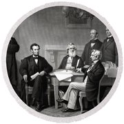President Lincoln And His Cabinet Round Beach Towel by War Is Hell Store