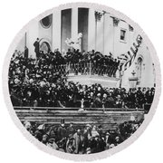 Round Beach Towel featuring the photograph President Lincoln Gives His Second Inaugural Address - March 4 1865 by International  Images