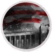 Round Beach Towel featuring the painting President Lincoln  by Gull G