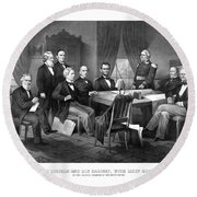 President Lincoln His Cabinet And General Scott Round Beach Towel
